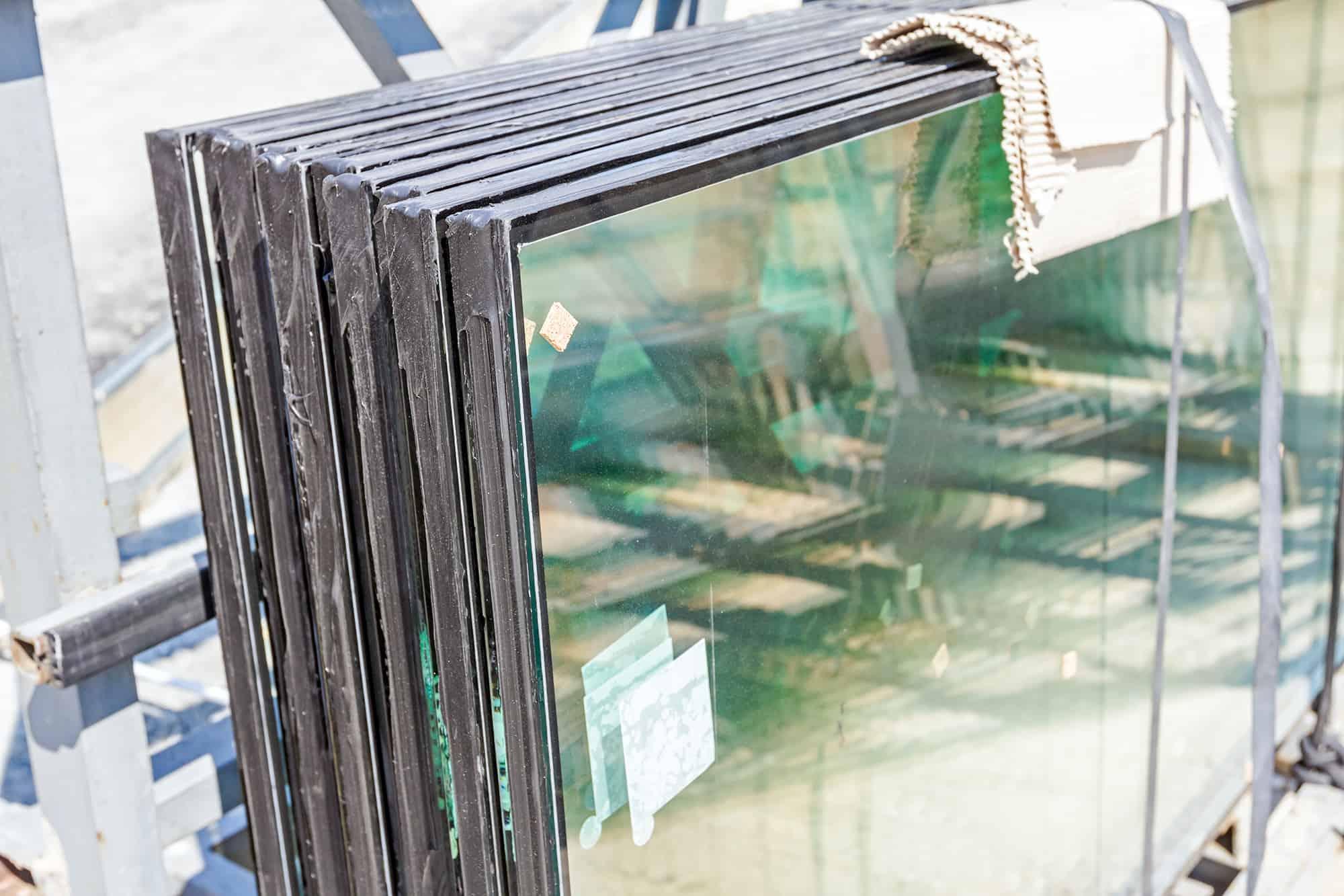 Double glazing window stacks ready to be installed into a window frame